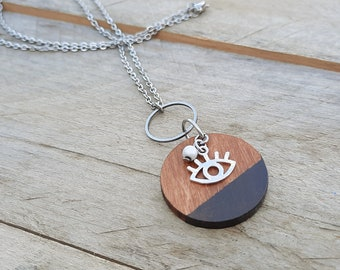 Watching eye necklace silver (20 colors to choose from!) - Stainless steel chain and cherry wood medallion