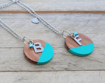 BEST FRIENDS duo 2 Personalized necklaces with initials, 20 colors to choose from! Personalized gift letter stainless, best friends gift