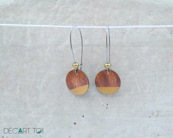 Earrings Recycled Wooden Disc Painted By Hand Classic And Timeless Brown Wood And Golden 17 Mm