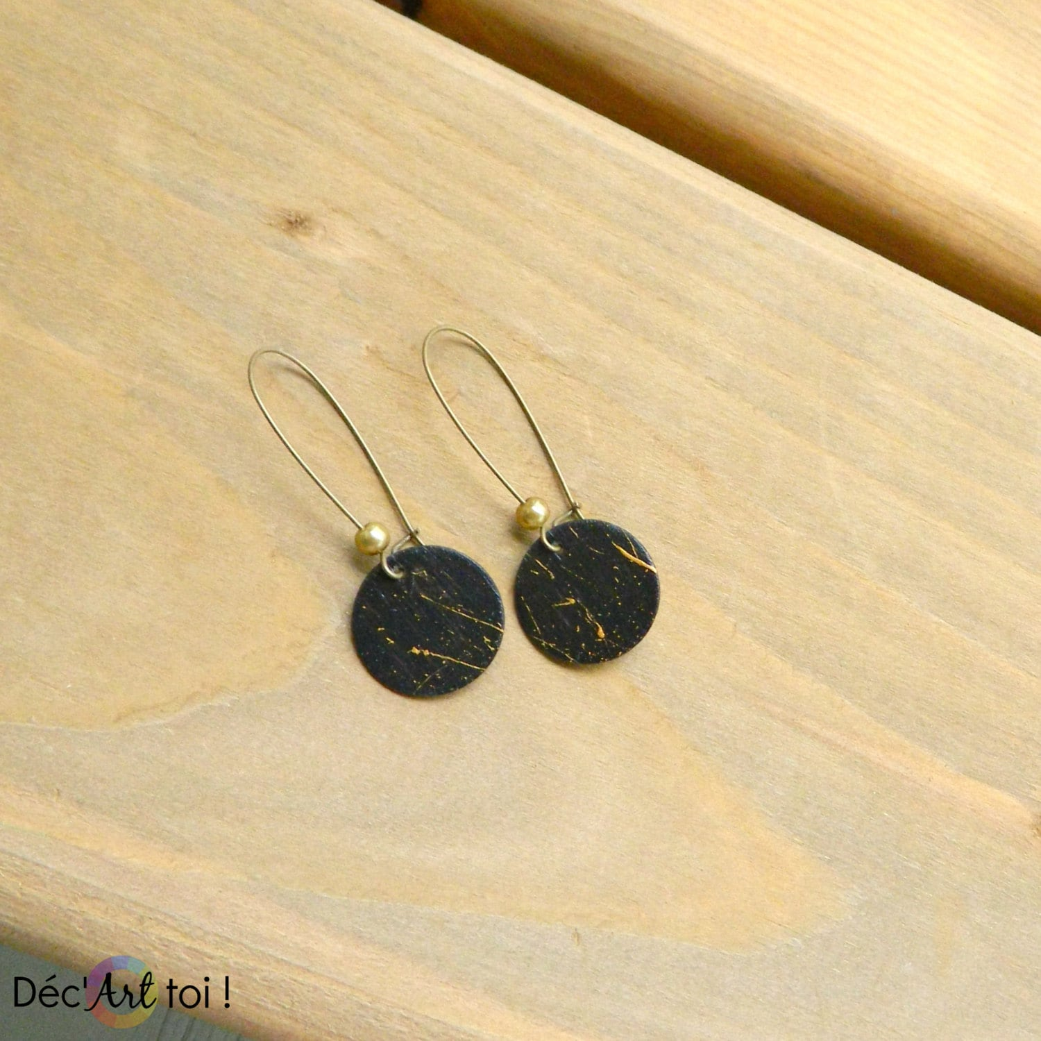 Earrings Recycled Wooden Disc Painted By Hand Wood Of Canada Black Wood Discs With Golden Abstract Art 17 Mm
