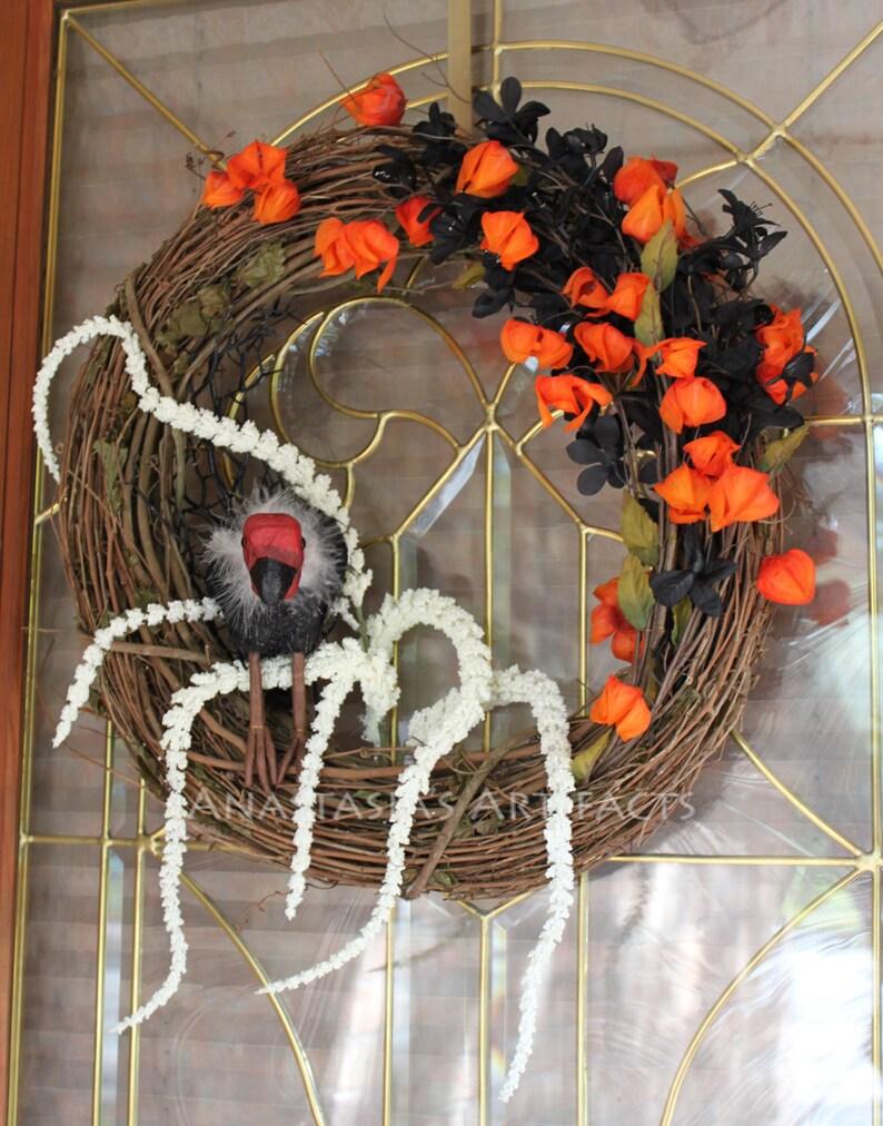 Autumn Wreath Halloween Wreath Grapevine Elegant Vulture Fall Wreath