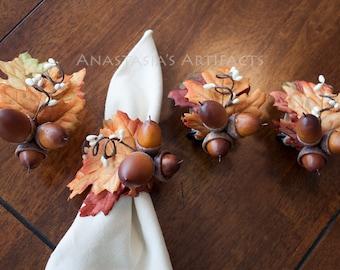 Warm Acorns on Fiery Satiny Leaves, Set of 4 - Fall Napkin Ring - Autumn Napkin Ring - Thanksgiving Napkin Ring