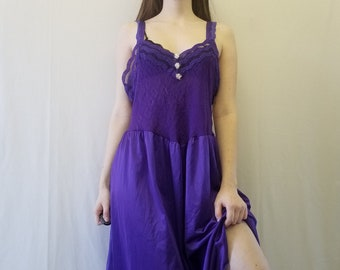 Sz L Vintage Cinema Etoile Y2K Lilac Silky Lingerie Slip Dress