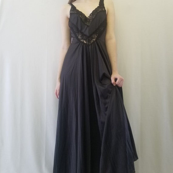 1990s Goth Black Lace Maxi Slip Dress
