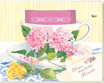Just Married Teacup Greeting Card with a Peppermint teabag