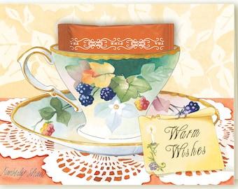 Bird of Paradise Teacup Greeting Card with a Cinnamon Teabag