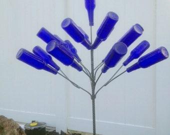 """The """"Little Runt Poppy"""" Glass Bottle Tree,  5 FT 17  Branches"""