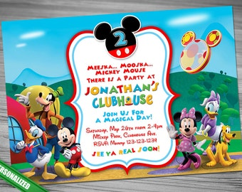 Mickey Mouse ClubHouse Invitation, Mickey Invitation, Mickey Invitation, ClubHouse Invitation, Mickey ClubHouse Invitation
