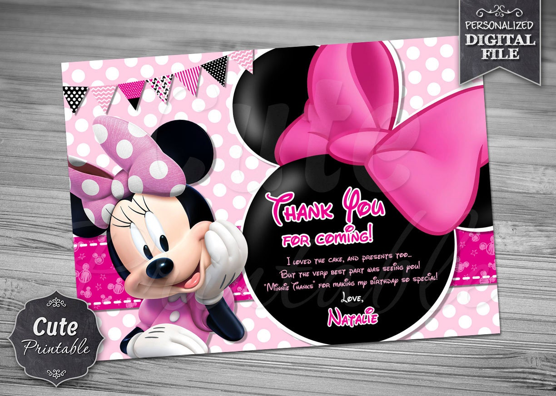 Minnie Mouse gracias usted tarjeta Minnie gracias que | Etsy