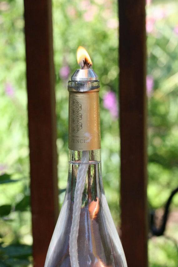 """10 Bottle Wicks 10/"""" Aluminum Wick Holder Wine Bottle Tiki Torch Oil Candles"""