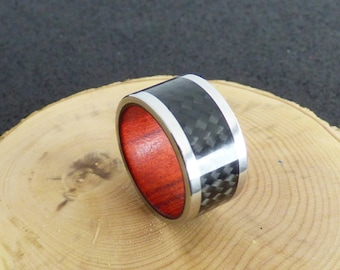 stainless steel and carbon fiber with red heart wood inner ring