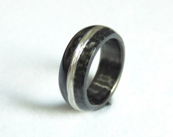 carbon & silver wire ring