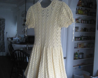 Vintage Hand Knitted Girl;s Dress