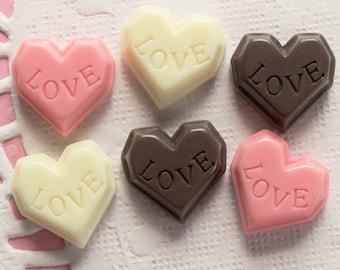 6 Pcs Pink Chocolate Heart Cabochons - 17x15mm