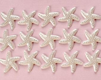 40 Pcs White Pearlized Starfish Cabochons - 19mm
