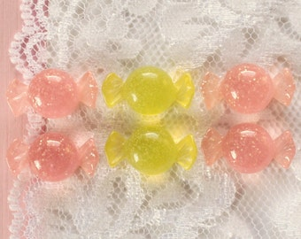 6 Pcs Pink and Yellow Purse Candy Cabochons - 20x11mm