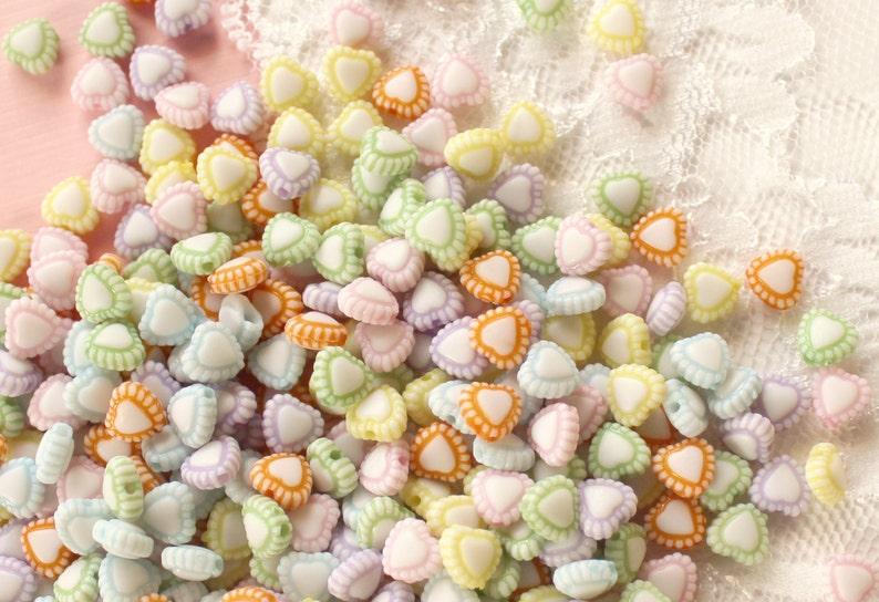 200 Pcs 6mm Pastel Lacy Heart Beads