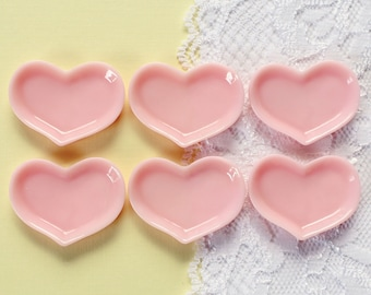 6 Pcs Pink Heart Shaped Plate Dishes Cabochons - 33x25mm