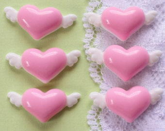 6 Pcs Pink Heart With Wings Cabochons - 25x13mm