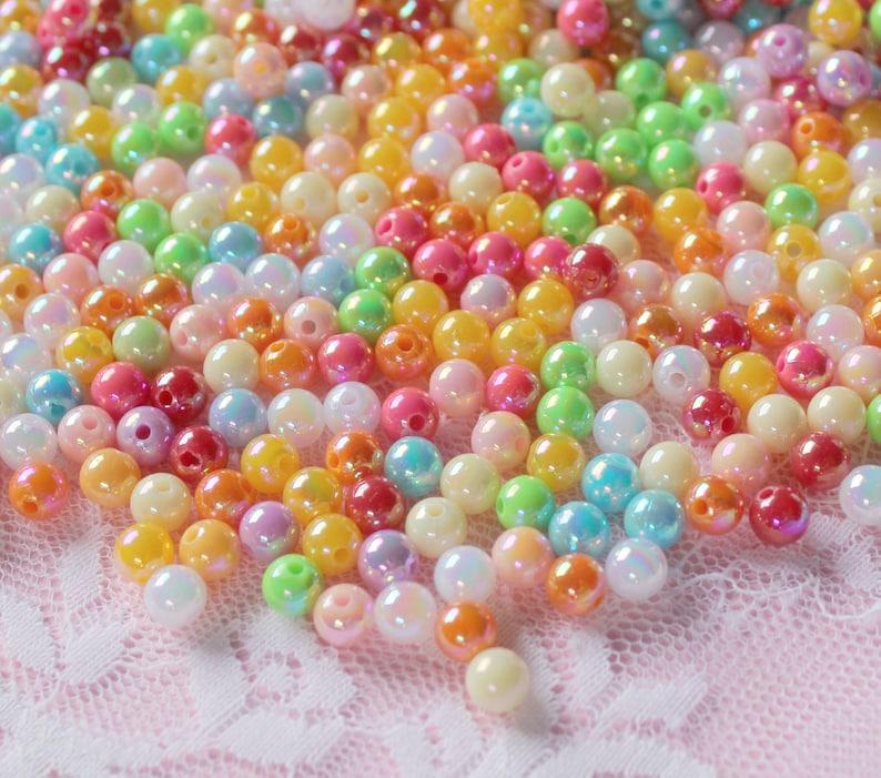 200Pcs 6mm Iridescent Neon beads