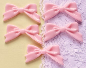 5 Pcs Pink Fancy Bow Cabochons - 47x27mm