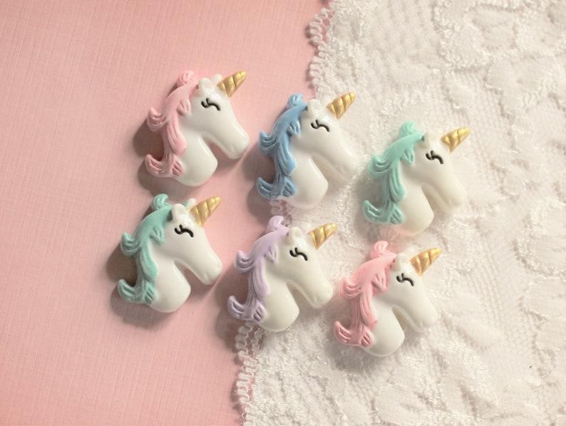 6 Pcs Pastel Pretty Unicorn Cabochons 26x24mm