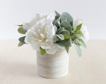 white silk flower centerpiece with peony and artificial succulents in a ceramic vase 8 inches - Flowers In Vase