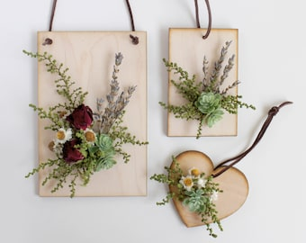 Dry Flower Wooden Ornament Set of 3, Accent Wall Hanging, Wildflowers and Succulents