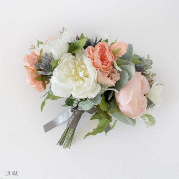 Silk Bride Bouquet Artificial Wedding Flowers Pink Peach Etsy