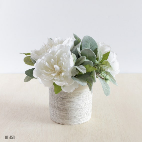 White silk flower centerpiece with peony and artificial etsy image 0 mightylinksfo