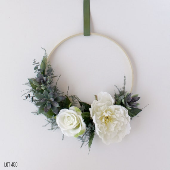Hoop wreath with white silk flowers artificial succulents and etsy image 0 mightylinksfo