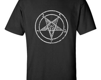 Baphomet goats head occult pentagram satanic T shirt heavy metal punk gothic