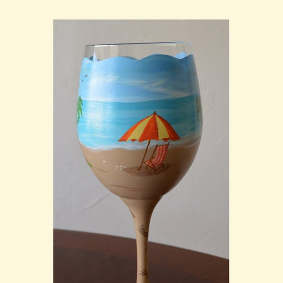 Beach Themed Wine Glass A Day At The Beach Hand Painted Large Etsy