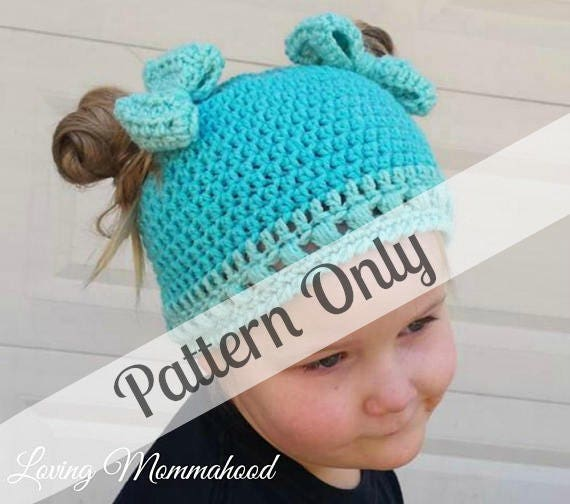 Girls Messy Bun Hat Crochet PATTERN ONLY Ponytail Hat Etsy Enchanting Ponytail Beanie Crochet Pattern