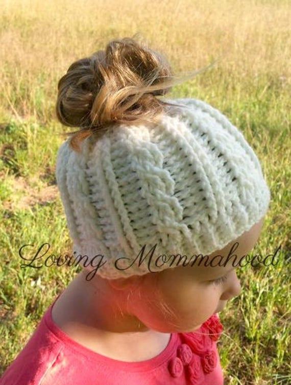 GIRLS Ponytail Hat Kids Ponytail Hat Kids Messy Bun Hat  bf500c25fd6