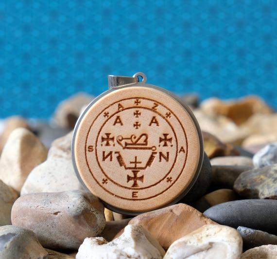 Wood Necklace-Archangel Zadkiel  Seal Angelic Talisman. Sigil of the Zadkiel