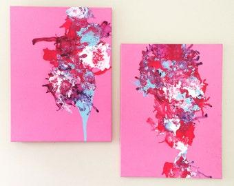 XL Pink Painting Abstract Pink Art Pink Purple Blue Art Fluid Painting Pink Diptych Art Original Acrylic Art Splatter Art 18x24 canvas SET