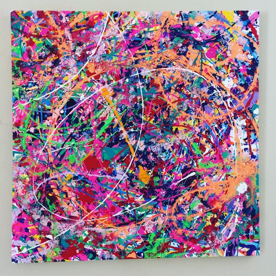 neon abstract art splatter painting colorful canvas art large etsy
