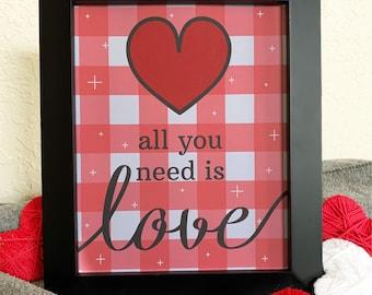 Valentines Art Prints - Plaid Background - Print Size 8x10