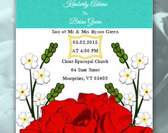 Rose Wedding Invitation - Wedding Invites - Purple Rose Invitations, Red Rose Invitations