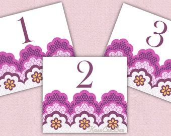 Lace Border, Table Numbers - Purple & Fuchsia Lace, Purple Numbers, Fuchsia Numbers, Wedding Table Numbers, Reception Table