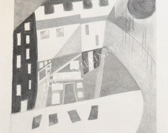Abstract Town - Original Pencil & Charcoal Drawing