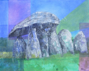 Pentre Ifan Prehistoric Burial Chamber - Original Acrylic Painting on Canvas