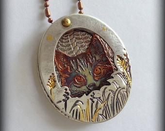 Scaredy Cat Silver & Copper Pendant