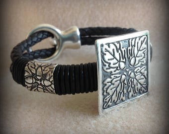 Oak Leaf and Acorn Silver and Leather Bracelet