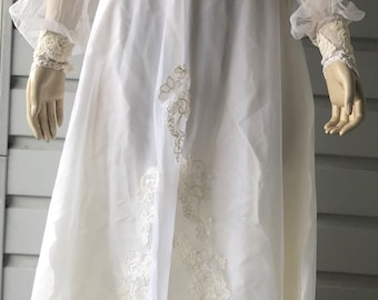 Vintage Union Made Victorian Ivory Lace Bead Embroidered Wedding Dress Sz 7