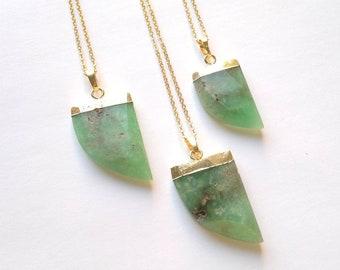 Chrysoprase Necklace Chrysoprase Pendant Green Stone Necklace Chrysoprase Tusk Pendant Gold Edged Green Necklace Chrysoprase Stone Jewelry
