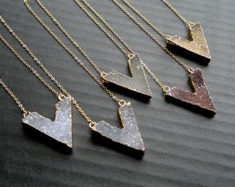 Druzy Necklace Druzy Chevron Necklace Gold Edged Druzy Natural Color Druzy Jewelry Stone Necklace Chevron Jewelry Gold Boho Jewelry Stone