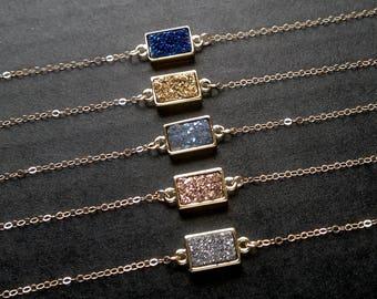 Druzy Bracelet Stone Bracelet Stone Jewelry Quartz Bracelet Druzy Jewelry Dainty Bracelet Stone Chain Bracelet Boho Bracelet Gold Filled