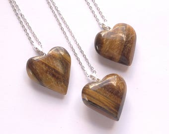 Heart Necklace Tiger Eye Necklace Tiger Eye Pendant Tiger Eye Heart Tiger Eye Jewelry Valentine's Day Gift Silver Tiger Eye Stone Necklace